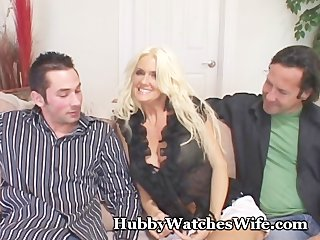 cougar wife fucks youthful dude as hubby watches
