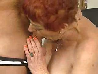 deliciously hairy granny sucks and bonks