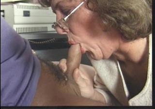 secretary butt takes in pony tailed guys cum
