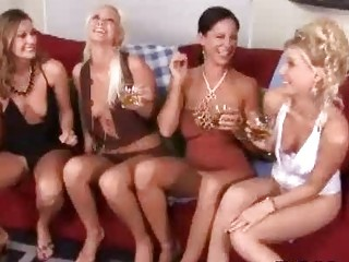 classy drunk milf ladies having wild lesbian