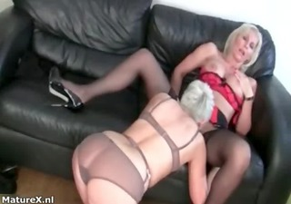 sexually excited golden-haired older housewife
