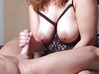 chubby and breasty amateur milf fucks with handjob