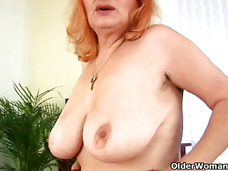 busty granny loves toying her old and curly pussy