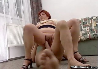 naughty redhead old slut goes crazy riding part2