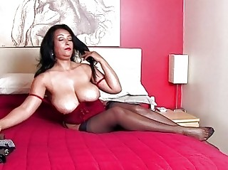 breathtaking dark brown momma with huge bazongas