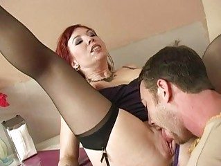 breathtaking breasty brunette milf engulfing cock