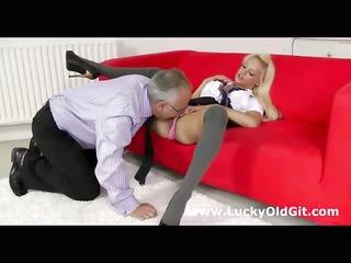 older british guy fucks blonde in a schoolgirl