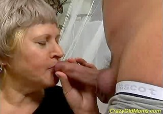 crazy old mom acquires cumshot sex