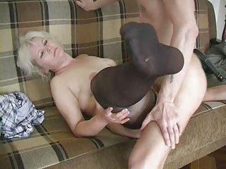 older blonde in nylons fucks the chap