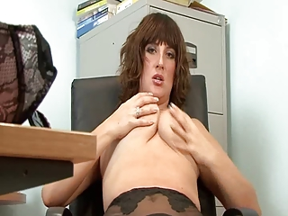 hot mature secretary full fashion stockings