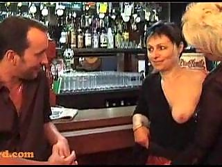 trio with mature women in a bar