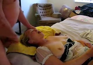 old whore eating cum while she is masturbates