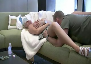 facial ejaculation from angles with golden-haired