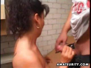 mature amateur wife homemade anal with facial