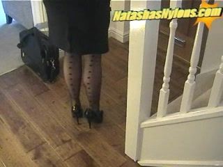 business boss with large tits in black nylons