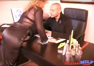 shaggy secretary takes boss knob anal
