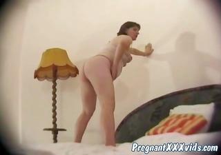 obscene mature pregnant in solo