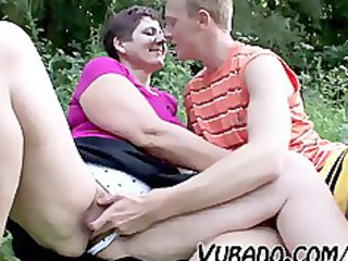 milf and teenager have a fun outdoor sex
