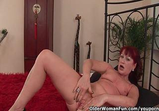 red hawt grandma gets her small tits overspread