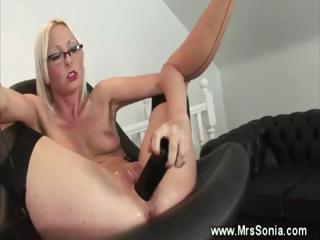 aged secretary gets her cum-hole toyed