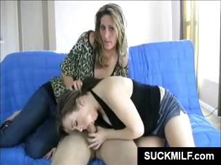 lucky guys white dick gets blown by a mother and