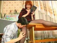 older teaches her student russian cumshots swallow