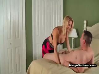 hot blonde cougar in lingerie seduces neighbour