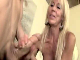 eager mature granny jerking youthful fellow