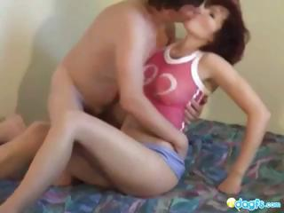 aged amateur redhead gets licked and gangbanged