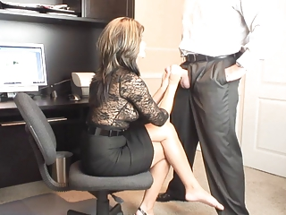 sexy milf office oral stimulation