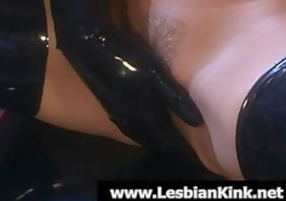 lesbian babes in rubber fingering soaked twats