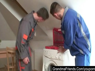 two repairmen bang granny till double jizz flow