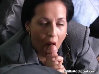 slutty brunette milf secretary gets soaked