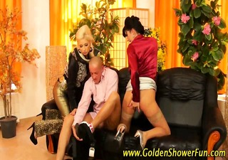drilled threesome wench voided urine on