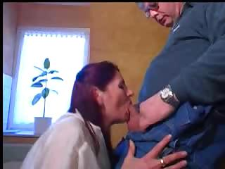red-haired granny calls for a repairman and asks