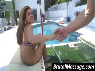 busty brunette milf, in a bathing suit gets her