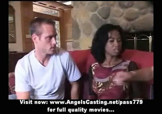 innocent afro bride in three-some does blowjob