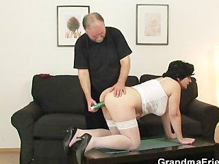 granny gets her hairy hole filled with dicks