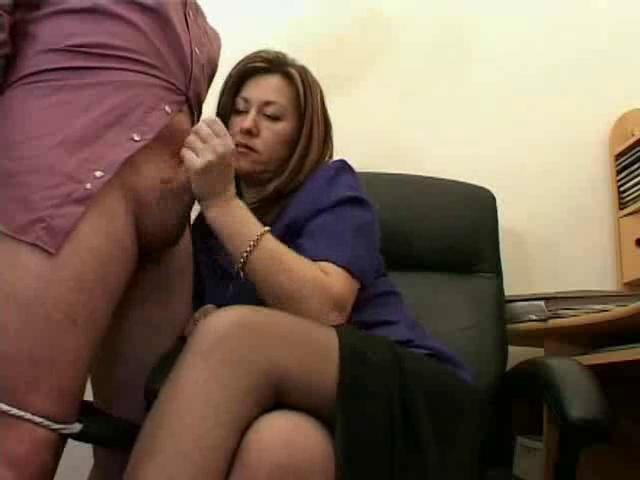 hot aged secretary jerks the jizz from bosses