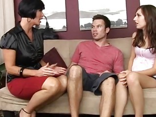 hot mum teaching her pregnant daughter how to