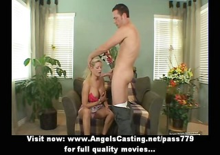 busty golden-haired does oral-job and titsjob for