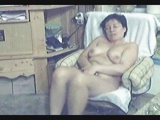 my mum home alone. hidden cam in livingroom
