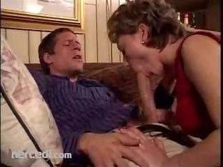 aged broad sucks her man blowjob