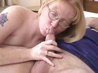 blonde mother i wearing glasses blows and drilled