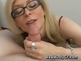 blond mommy in glasses licking stiff