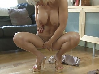 sensual blond momma with large tits in heels