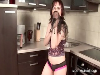 awesome abode wife masturbating on the kitchen