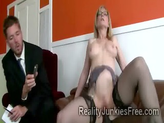 gorgoeus mommy in stockings helps her son to keep