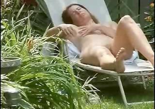 my mum baths sunning in the garden decided to
