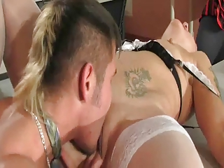 milf and young in office